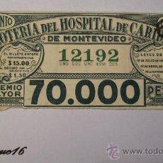 Lotería Nacional: HOSPITAL DE CARIDAD MONTEVIDEO - LOTERIA URUGUAYA - NUMERO 12192. Lote 27503801