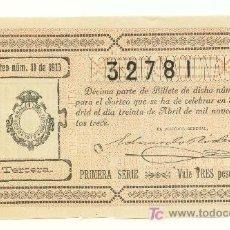 Lotería Nacional: DÉCIMO DE LOTERIA. SORTEO 11 DE 1913. PERFECTO.. Lote 20628823