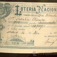 Lotería Nacional: LOTERIA NACIONAL SORTEO DEL DÍA 23 DE DICIEMBRE DE 1892 BONITO BILLETE LITOGRAFÍA DE ROMILLO MADRID. Lote 27370365