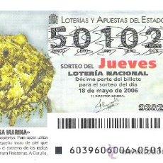 Lotería Nacional: 1 DECIMO LOTERIA DEL JUEVES - 18 MAYO 2006 -- 39/06 - FAUNA MARINA ( RAPE ). Lote 17063605