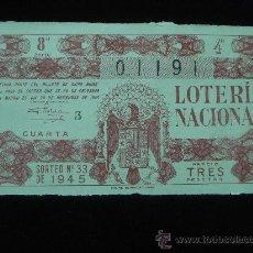 Lotería Nacional: LOTERIA NACIONAL AÑO 1945 SORTEO 33. Lote 27275917