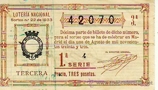 LOTERIA NACIONAL SORTEO 22 DE 1933. PRECIO 3 PESETAS. MAS COLECCIONISMO EN RASTRILLOPORTOBELLO (Coleccionismo - Lotería Nacional)