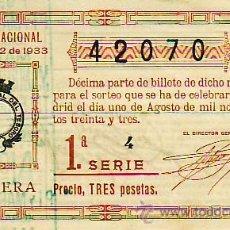 Lotería Nacional: LOTERIA NACIONAL SORTEO 22 DE 1933. PRECIO 3 PESETAS. MAS COLECCIONISMO EN RASTRILLOPORTOBELLO. Lote 27176133