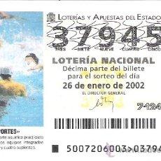 Lotería Nacional: 1 DECIMO LOTERIA DEL SABADO - 26 ENERO 2002 - 7/02 - DEPORTES - WATERPOLO. Lote 17977404