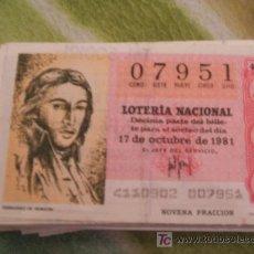 Lotería Nacional: 17 DE OCTUBRE DE 1981.. Lote 19958158