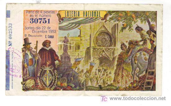 PARTICIPACIÓN SORTEO NAVIDAD-COMISION FALLA PLAZA DEL MERCADO- 1953- N. 30751 (Coleccionismo - Lotería Nacional)
