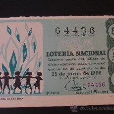 Lotería Nacional: LOTERIA 25 JUNIO 1966 SORTEO 18. Lote 19014329