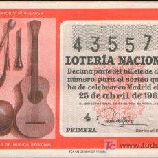 Lotería Nacional: DECIMO DE LOTERIA SORTEO 12 DE 1961 CONSERVACION E (1903). Lote 19219799