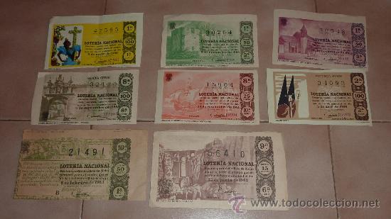 LOTE DE 8 CUPONES DE LOTERIA. AÑOS 60S. (Coleccionismo - Lotería Nacional)