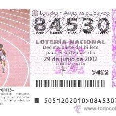 Lotería Nacional: 1 DECIMO LOTERIA DEL SABADO -- 29 JUNIO 2002 - 51/02 - DEPORTES - ATLETISMO. Lote 19502104