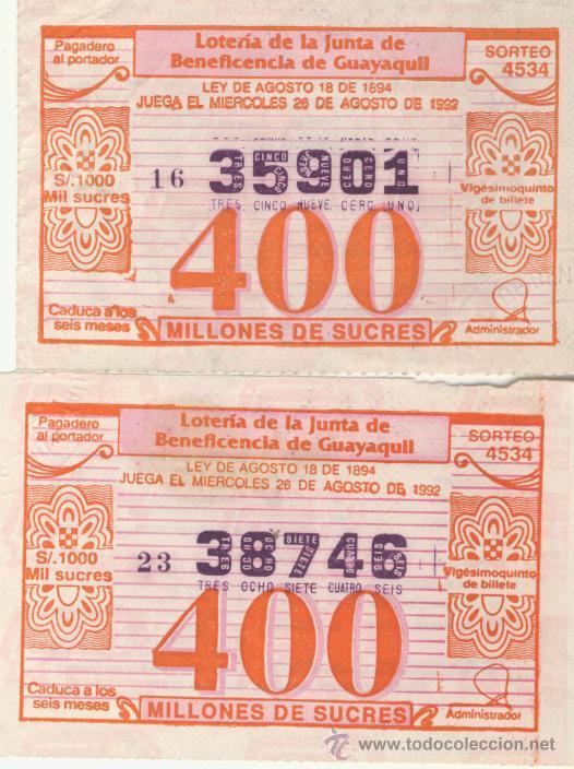 LOTERIA DE GUAYAQUIL - ECUADOR (Coleccionismo - Lotería Nacional)