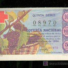 Lotería Nacional: DECIMO DE LOTERIA NACIONAL DEL 15 DE OCTUBRE DE 1964. SORTEO Nº 29.. Lote 20102777