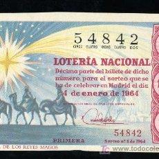 Lotería Nacional: DECIMO DE LOTERIA NACIONAL DEL 4 DE ENERO DE 1964. SORTEO Nº 1.. Lote 20104255