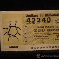 Lotería Nacional: LOTERIA DEL ZODIACO SORTEO 9 AÑO 93. Lote 21076315