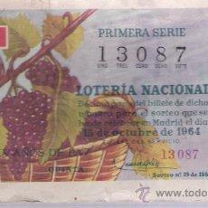 Lotería Nacional: LOTERÍA. DÉCIMO. 15 OCTUBRE 1964.. Lote 21351898