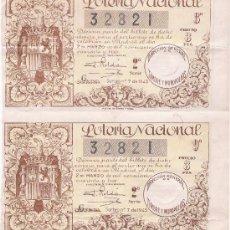 Lotería Nacional: LOTERÍA. 2 DÉCIMOS AÑO 1943. SORTEO Nº 7.. Lote 21352004