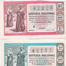Lotería Nacional: LOTERÍA. 3 DÉCIMOS.AÑO 1961.. Lote 21352075