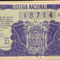 Lotería Nacional: DECIMO DE LOTERIA SORTEO 10 DE 1948 CONSERVACION MB (438). Lote 26668642