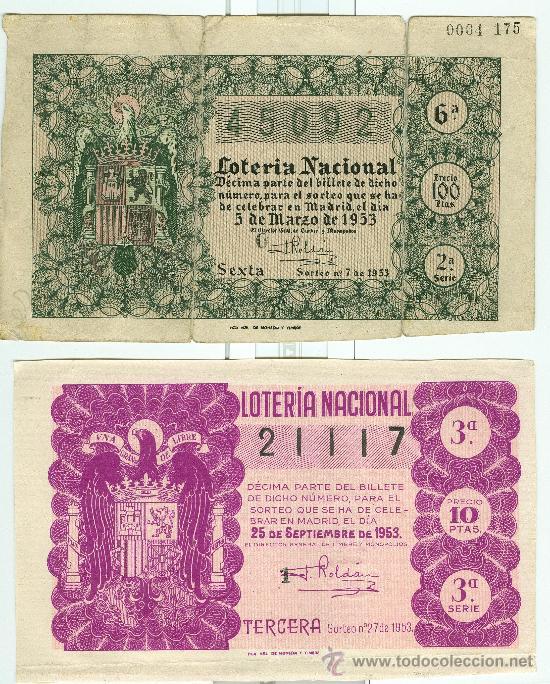 2 DECIMOS DE LOTERIA NACIONAL AÑO: 1953 (Coleccionismo - Lotería Nacional)