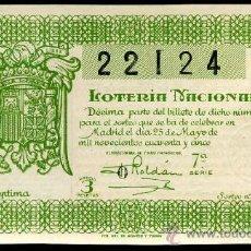 Lotería Nacional: LOTERIA NACIONAL, AÑO 1945 SORTEO 15 ( D - 0140 ). Lote 26940411