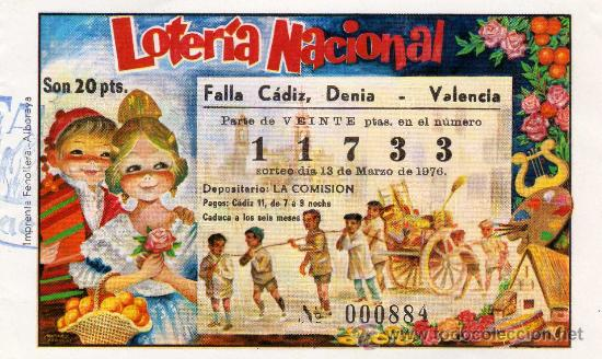 PARTICIPACION LOTERIA NACIONAL, FALLA CADIZ, DENIA 1977 (Coleccionismo - Lotería Nacional)