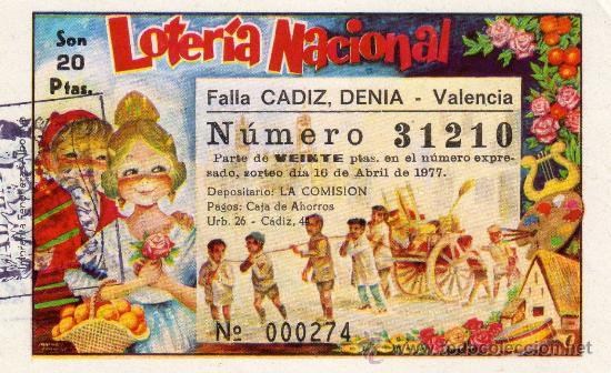 PARTICIPACION LOTERIA NACIONAL, FALLA CADIZ, DENIA 1976 (Coleccionismo - Lotería Nacional)