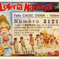 Lotería Nacional: PARTICIPACION LOTERIA NACIONAL, FALLA CADIZ, DENIA 1976. Lote 23415555