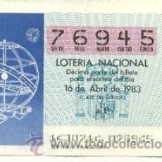 Lotería Nacional: 9-83-14. DECIMO LOTERIA NACIONAL, SORTEO Nº 14 DE 1983. ESFERA ARMILAR. Lote 93751104