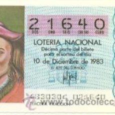 Loterie Nationale: 9-83-48. DECIMO LOTERIA NACIONAL, SORTEO Nº 48 DE 1983. HERNANDO COLON. Lote 261198735