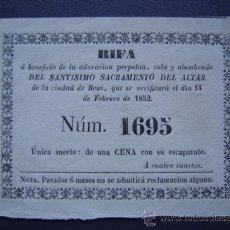 Lotería Nacional: REUS - RIFA DE 1852 - ADORACION PERPETUA, VELA Y ALUMBRADO DEL SANTISIMO SACRAMENTO DEL ALTAR. Lote 27591824