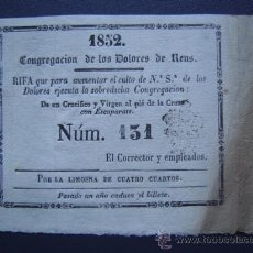 Lotería Nacional: REUS - RIFA DE 1852 - CONGREGACION DE LOS DOLORES DE REUS. Lote 27591825