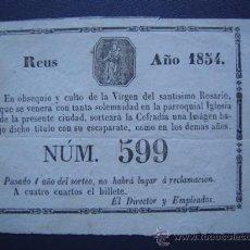 Lotería Nacional: REUS - RIFA DE 1854 - EN OBSEQUIO Y CULTO DE LA VIRGEN DEL SANTISIMO ROSARIO. Lote 27615423