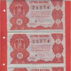 Lotería Nacional: LOTERIA NACIONAL SORTEO 31- 1955- 5 DE NOVIEMBRE -SERIE 4ª- 3 DECIMOS- 3-4-5--Nº 29374*. Lote 24733913
