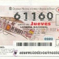 Lotería Nacional: 10-6899. LOTERIA JUEVES, SORTEO Nº 68 DE 1999. AVIONES. BREGUET XIV. Lote 120673103
