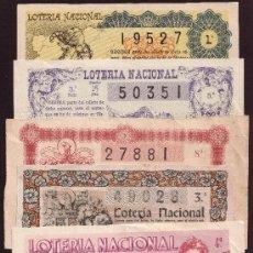 Lotería Nacional: LOTE DE 6 BILLETES 1944 A 1951 * LOTERIA NACIONAL *. Lote 25067504