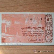 Lotería Nacional: DECIMO Nº 64150 DE LOTERIA NACIONAL SORTEO 25 DE ENERO DE 1965 - RUTA DEL QUIJOTE - VENTA CASTELLANA. Lote 25339122