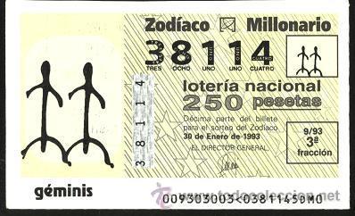 LOTERÍA DEL ZODIACO 1993 ( SORTEO 9, GÉMINIS ) (Coleccionismo - Lotería Nacional)