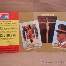 Lotería Nacional: PAPELETA PARTICIPACION LOTERIA NACIONAL - SORTEO NAVIDAD 1992 - FRENTE NACIONAL FRANCO. Lote 26077515