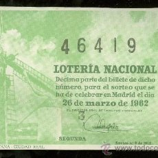 Lotería Nacional: DECIMO DE LOTERIA NACIONAL. SORTEO Nº 9 DE 1962.. Lote 26123759