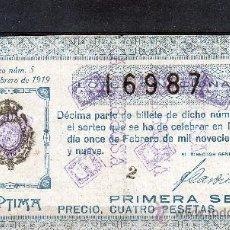 Lotería Nacional: DECIMO DE LOTERIA SORTEO 5 DE 1919 CONSERVACION R (3408). Lote 26344558