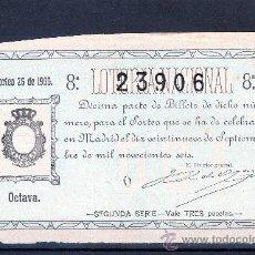 Lotería Nacional: DECIMO DE LOTERIA SORTEO 26 DE 1906 CONSERVACION B (3454). Lote 26347278
