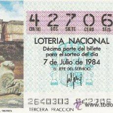 Lotería Nacional: 1 DECIMO LOTERIA DEL SABADO - 7 JULIO 1984 - 26/84 - PALACIO GOBERNADOR UXMAL ( CULTURA TOLTECA ). Lote 26585599