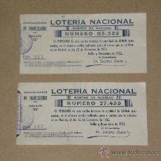 Lotería Nacional: LOTE DE 2 PAPELETAS DE LOTERIA NACIONAL DEL 22 DE DICIEMBRE DE 1952 . . Lote 27007878