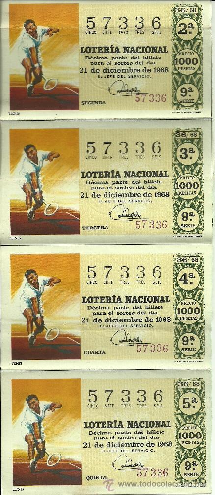 LOTERÍA NACIONAL - Nº 57336 - 21 DE DICIEMBRE DE 1968 - ADMÓN. Nº 67 DOÑA MANOLITA - MADRID (Coleccionismo - Lotería Nacional)
