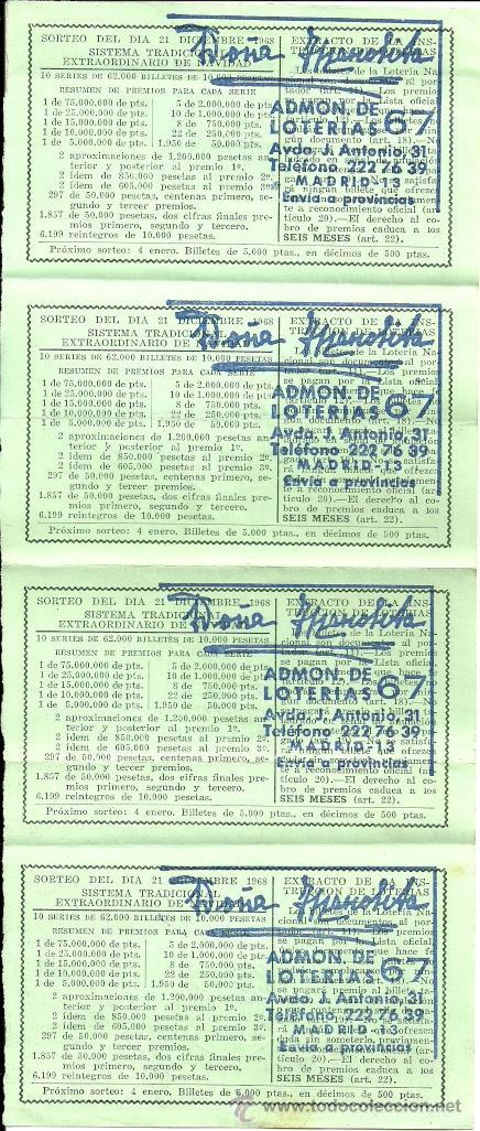 Lotería Nacional: LOTERÍA NACIONAL - nº 57336 - 21 de diciembre de 1968 - Admón. nº 67 Doña Manolita - Madrid - Foto 2 - 27149182