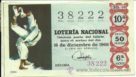LOTERÍA NACIONAL - Nº 38222 - 16 DE DICIEMBRE DE 1968 - ADMÓN. Nº 59 EL DOBLÓN DE ORO - MADRID (Coleccionismo - Lotería Nacional)