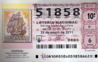 LOTERIA NACIONAL - 29 ENERO 2011 - FILATELIA - NAVIO SANTISIMA TRINIDAD - SELLO EMITIDO EN 1964 (Coleccionismo - Lotería Nacional)