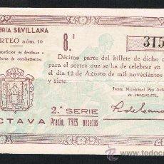 Lotería Nacional: SEVILLA, SORTEO Nº 10, DE 12 AGOSTO 1937. LOTERIA PATRIOTICA, DOBLEZ , . Lote 27280246