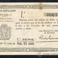 Lotería Nacional: SEVILLA, SORTEO Nº 15, DE 2 OCTUBRE 1937.LOTERIA PATRIOTICA, DOBLEZ, . Lote 27280674