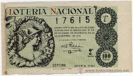 BONITO DECIMO - LOTERIA NACIONAL - MADRID 22 DE DICIEMBRE DE 1945 - SORTEO 36 (Coleccionismo - Lotería Nacional)
